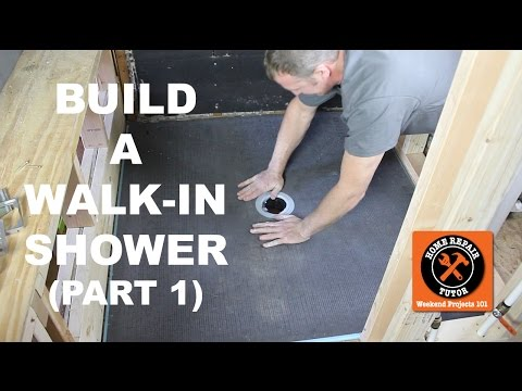How to Build a Walk-In Shower (Part 1: Wedi Shower Pan Install) -- by Home Repair Tutor