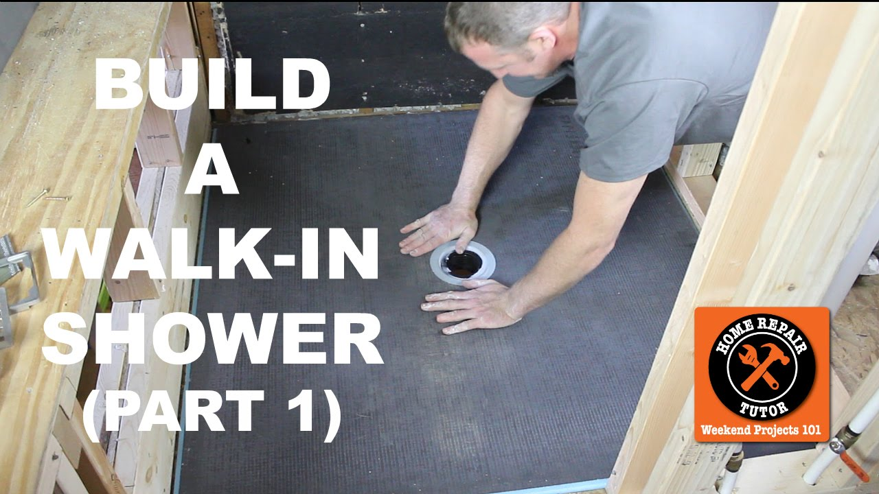 how to build a walk in shower part 1 wedi shower pan install by home repair tutor youtube. Black Bedroom Furniture Sets. Home Design Ideas