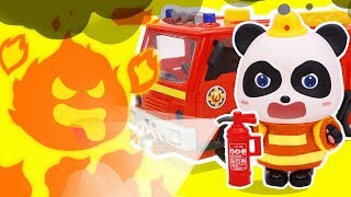 Panda Firefighter Rescues Baby Kitten | Fire Rescue | Children Role Play | Paw Patrol | ToyBus