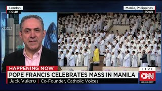 Jack Valero on CNN during Pope Francis' Mass in Manila Jan 2015