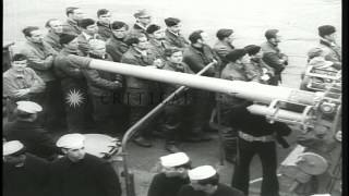Crew members of German submarine U-234 are taken prisoner after arriving at a doc...HD Stock Footage