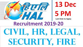 Hal recruitment 2019-20 civil, hr, legal, fire security jobs, psu govt jobs latest