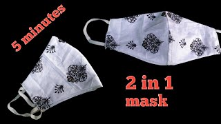 very easy New style pattern mask face mask sewing tutorial how to make face mask at home Diy mask