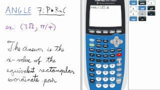 Convert Polar Coordinate in Radians to Rectangular X-coordinate TI 84 Calculator