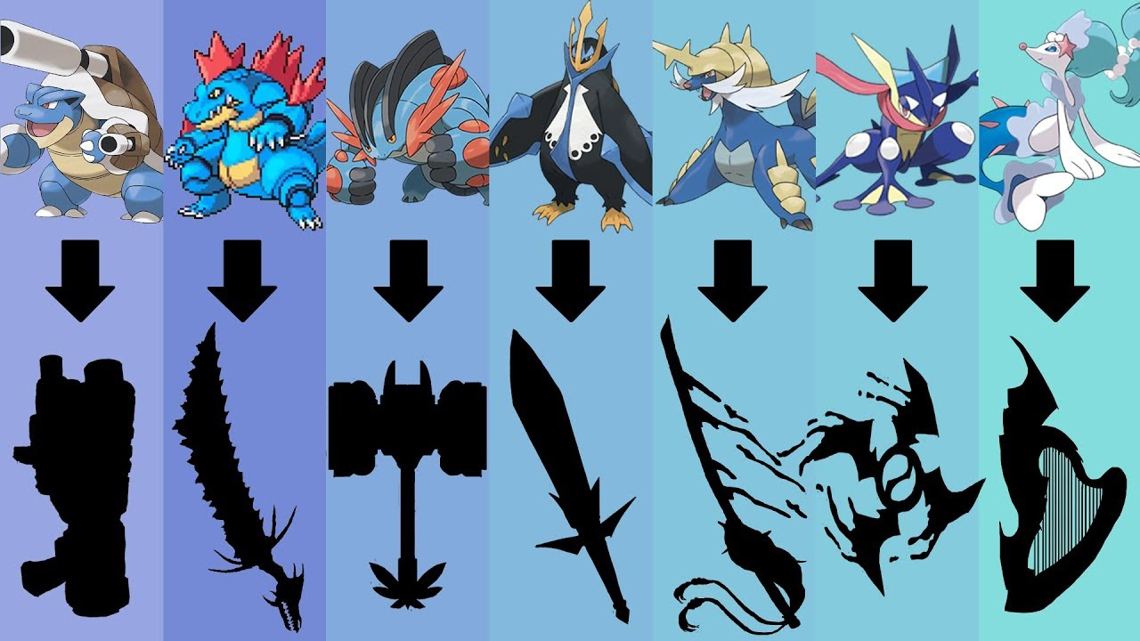 pokemon as weapons requests 30 all water type starters pokemon gen