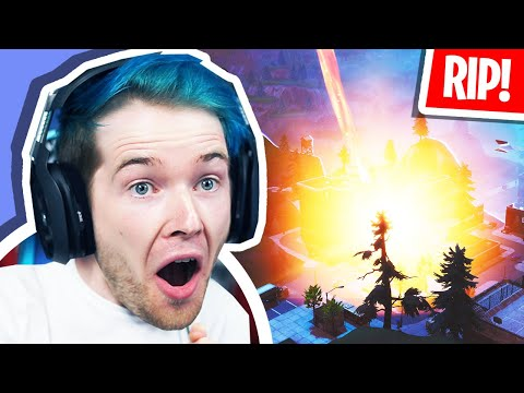 Reacting to TILTED TOWERS DESTROYED! (Fortnite Volcano Event) thumbnail