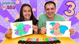 3 MARKER CHALLENGE. Dumbo y Aladdin en colores fosforitos