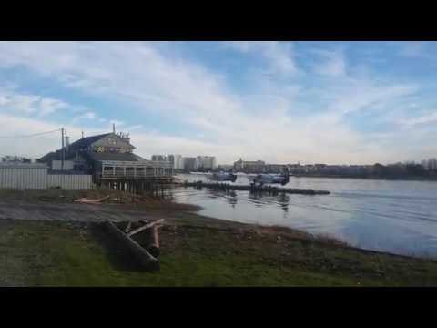 Seaplanes Taking Off On The Fraser River! Vancouver, BC, Canada!