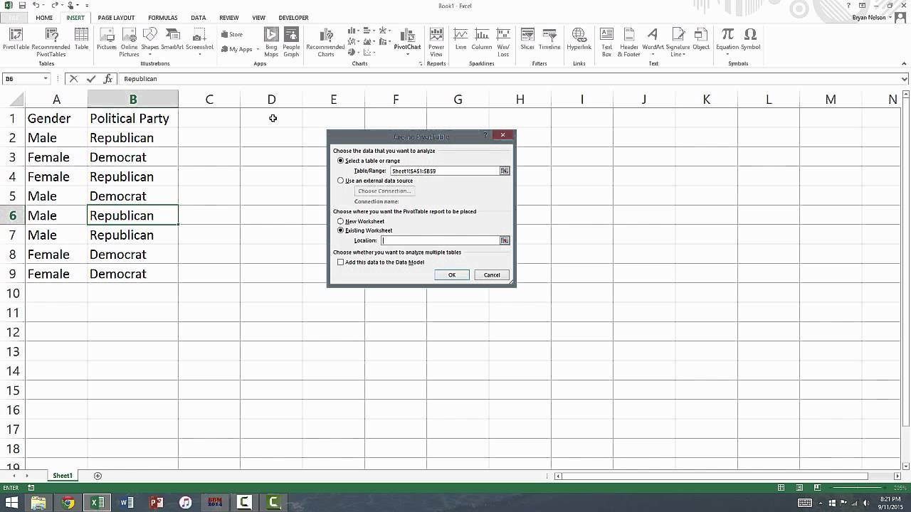 how to create a cross tabulation table in excel