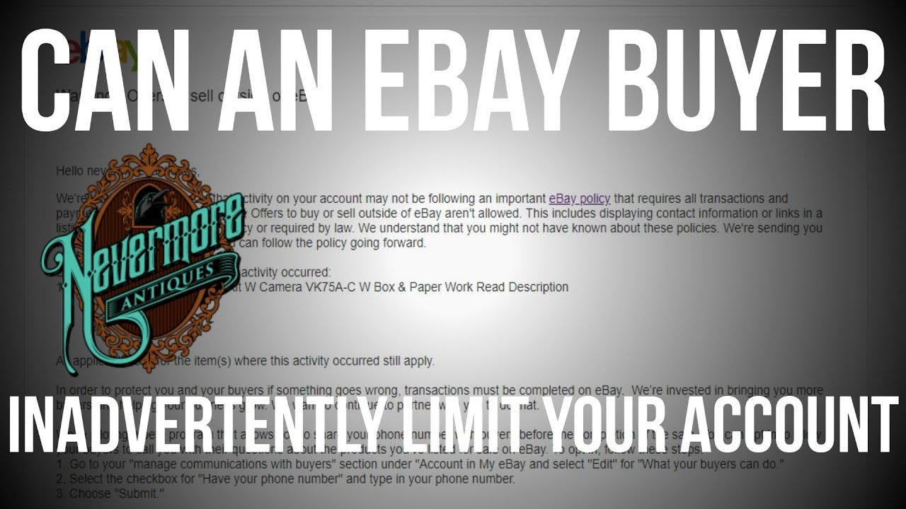 Warning Offers To Sell Outside Of Ebay Buyers Can Trip You Up Youtube