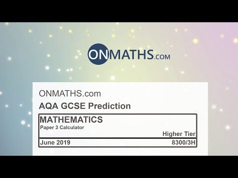 2019 AQA Higher Paper 3 Maths GCSE Predicted Paper Calculator Exam 8300/3H June 2019 thumbnail