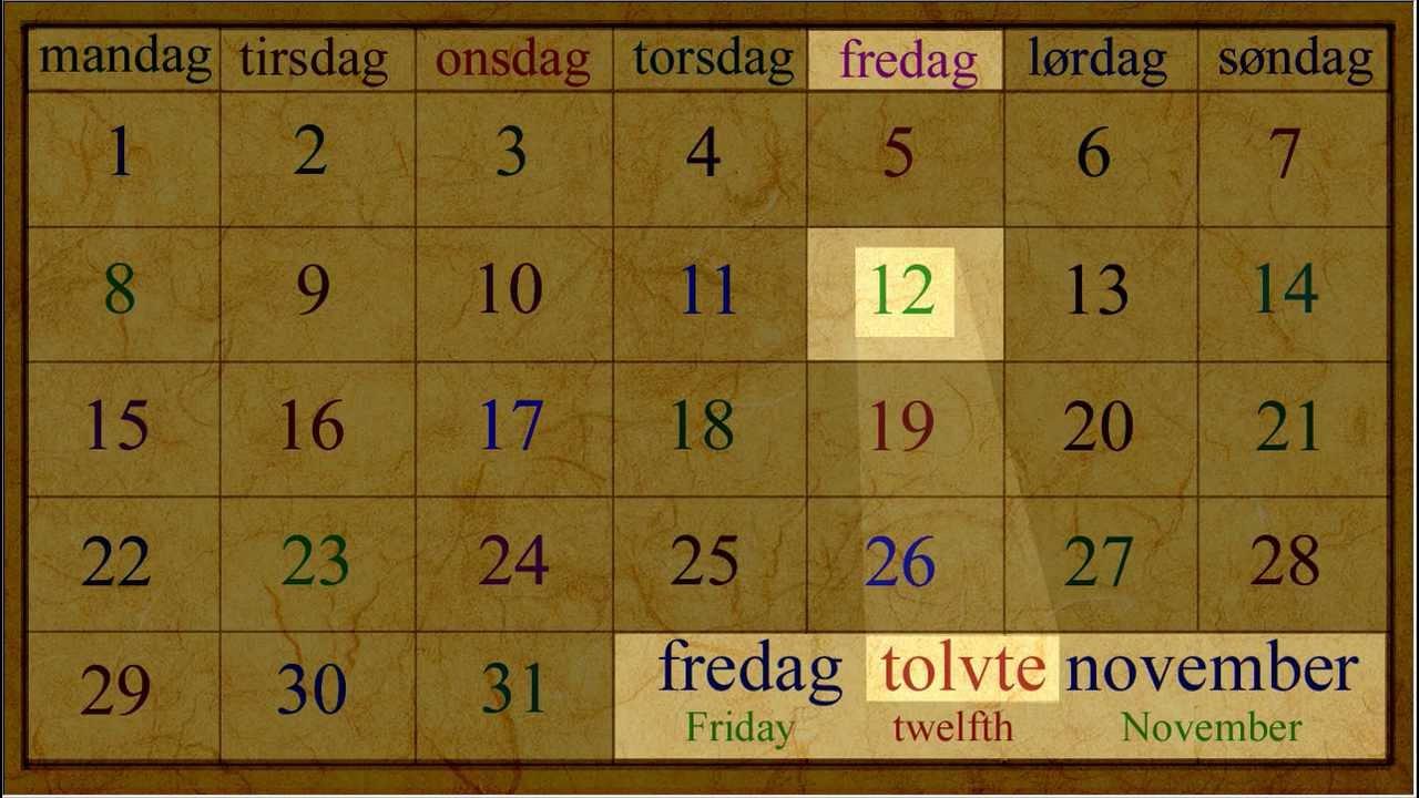 Norwegian Language: Kalender Dato  (med ordenstall)