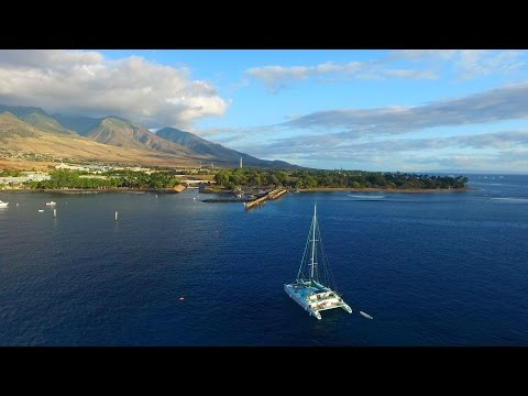 Aerial Views of Lahaina Town in west Maui, Hawaii