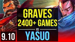 GRAVES vs YASUO (TOP)   2400+ games, KDA 9/1/5, 2 early solo kills   BR Challenger   v9.10