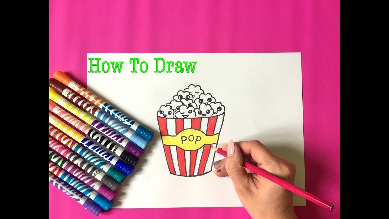 How To Draw Kawaii Popcorn Cute Drawing как нарисовать милый попкорн каваии рисунки попкорн