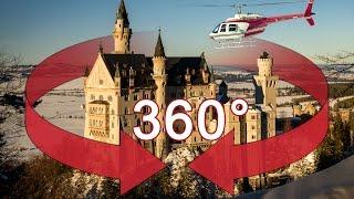 360° Video Schloss Neuschwanstein Hubschrauberflug(360° Video Hubschrauberrundflug vom Schloss Neuschwanstein in Deutschland. Fliegen Sie mit uns vorbei am vermutlich bekanntesten Schloss der Welt., 2016-02-29T15:01:47.000Z)