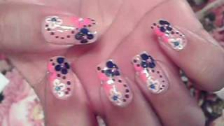 ITS FRIDAY!!!! YAY!!!! NAIL ART DESIGN PINK PURPLE WHITE & BLUE FLOWERS & DOTS