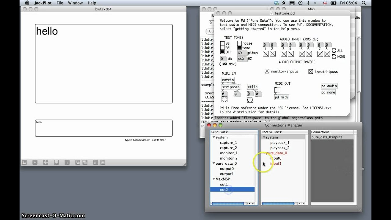 Mac Speech Synthesis in Max routed to Pd via Jack