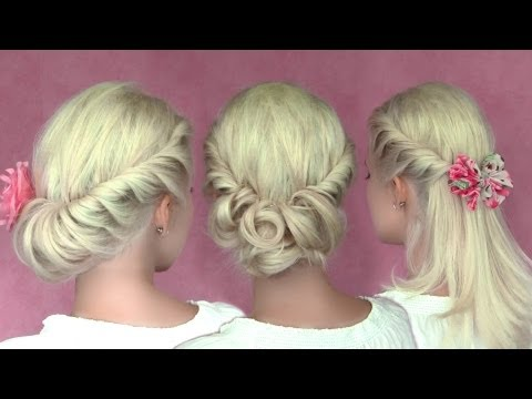 Romantic updo hairstyles for New Year's eve for medium long hair tutorial