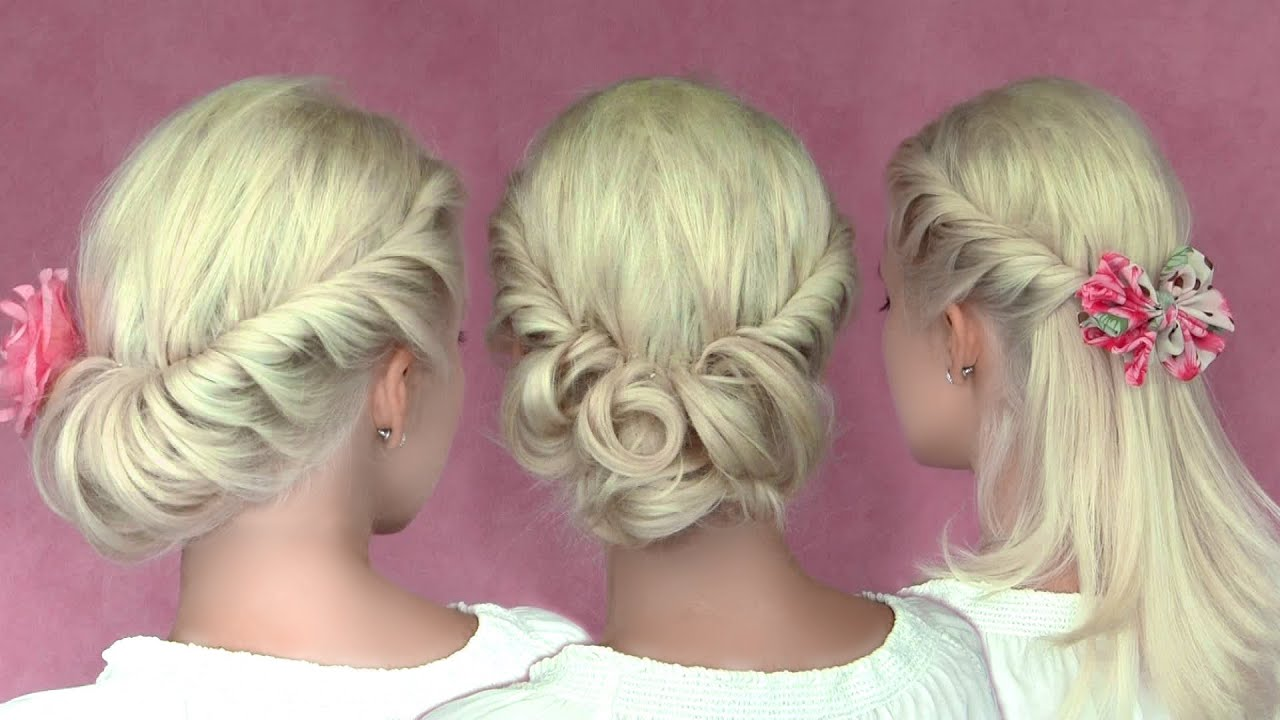 Romantic updo hairstyles for New Year's eve for medium