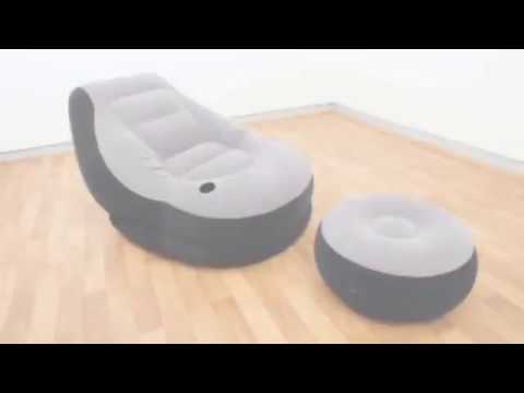 intex ultra lounge chair and ottoman dining covers gray inflatable with youtube