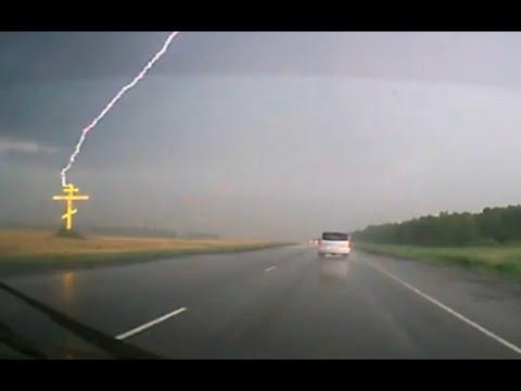 Гроза на трассе Тюмень Тобольск the lightning struck in a cross