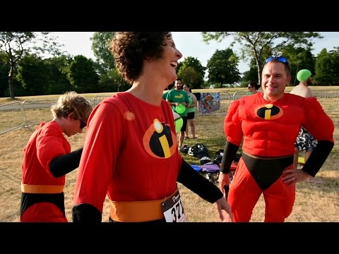 Thumbnail for Musselman Triathlon kicks off weekend of racing with big wheels, tricycles (video)