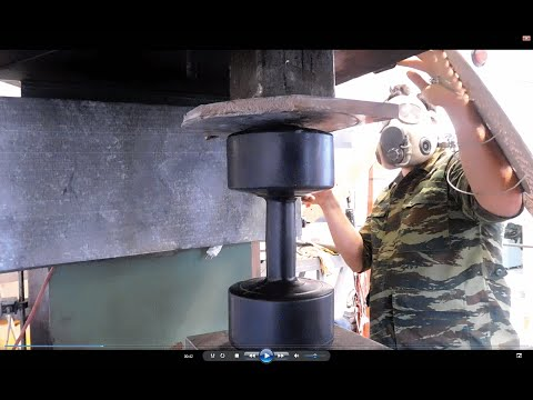 Experiment Dumbbels Vs 200 ton Hydraulic Press The Crusher
