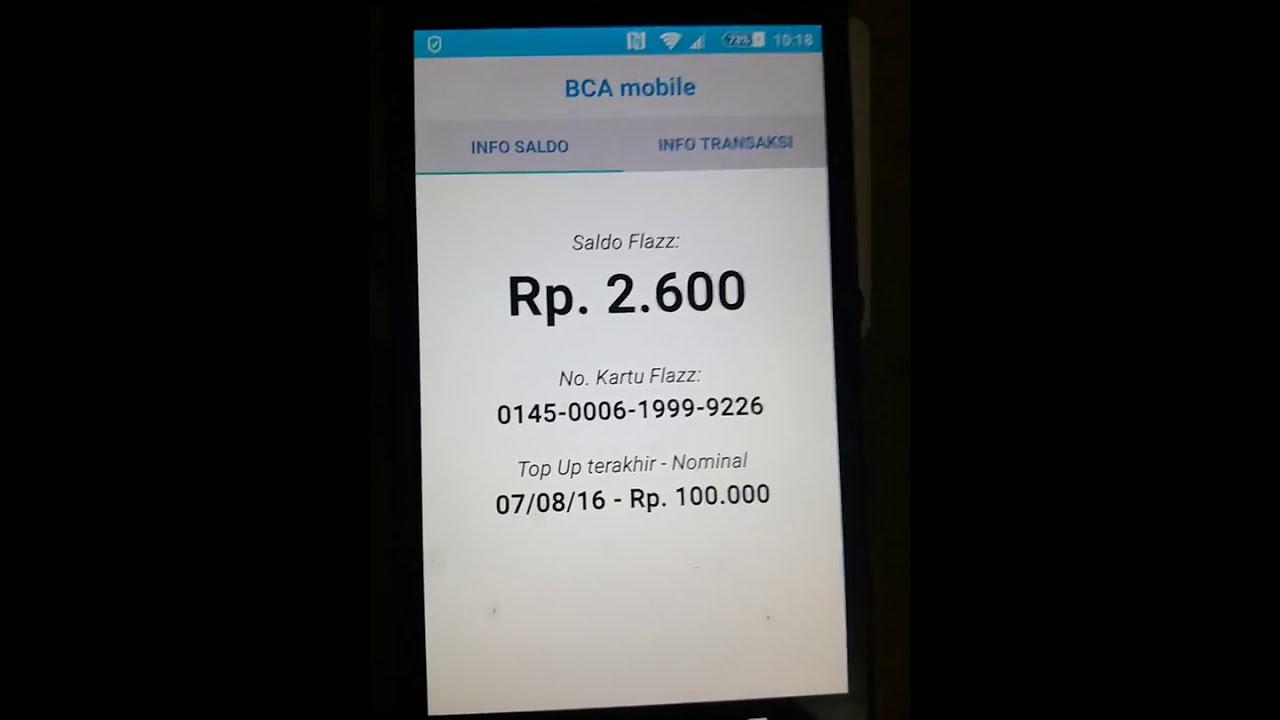 Cek Saldo Flazz Pada Mobile Banking Bca Youtube Card