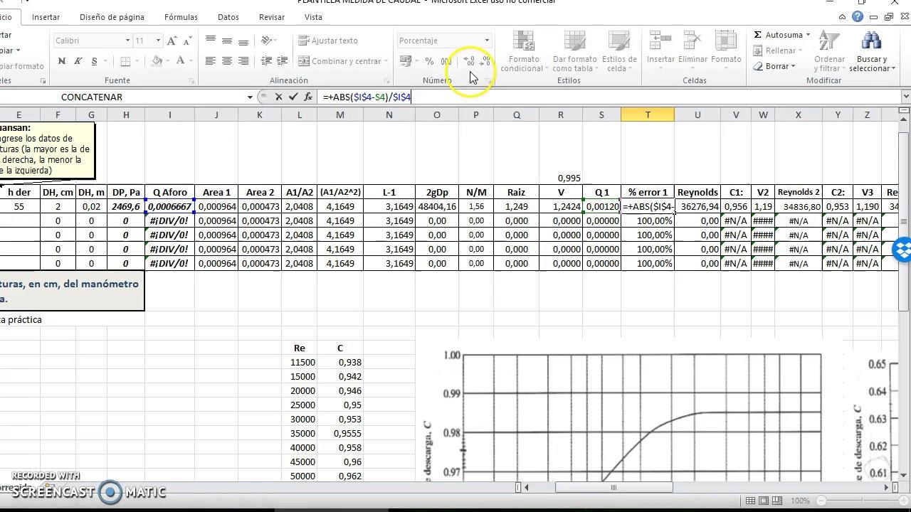 Hoja de cálculo Medida de caudal - YouTube