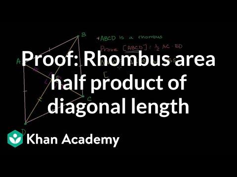 Proof: Rhombus area half product of diagonal length | Quadri