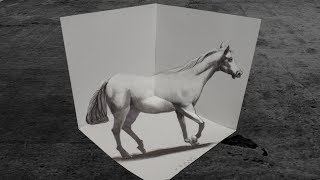 How to Draw 3D White Horse - Drawing an Amazing Horse -  VamosART