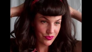 SUPER quick and EASY FAUX Bettie BANGS (U - shaped fringe how to tutorial) - Vintagious