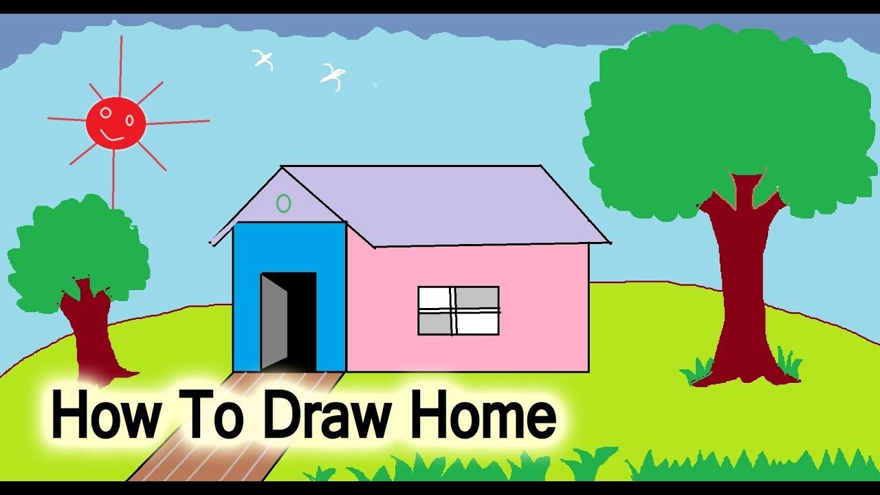 How To Draw Simple House Step By Step For Kids Easy Draw Youtube