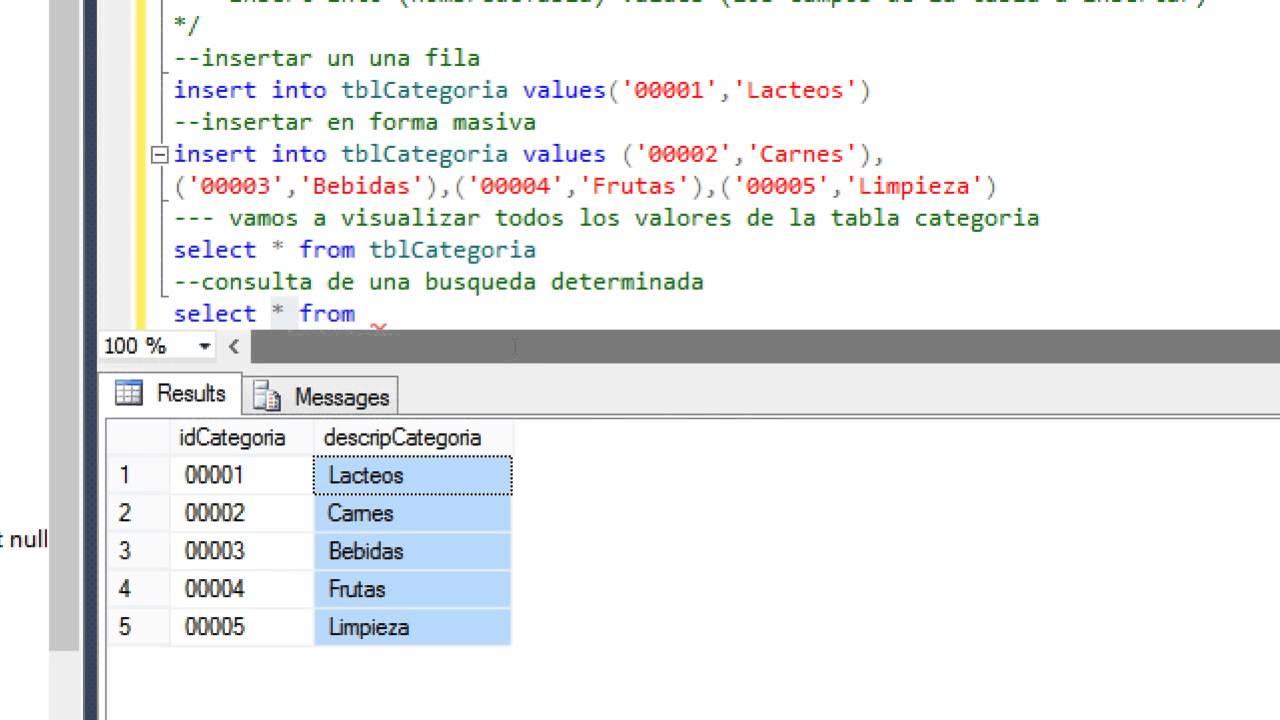 SQL Server Insert, Select, Delete y Update en una tabla - YouTube