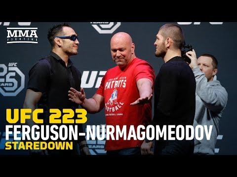 UFC 223: Tony Ferguson vs. Khabib Nurmagomedov Staredown - MMA Fighting