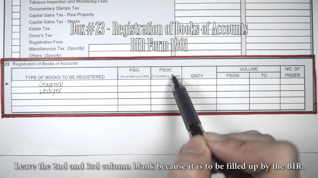 how to register books of accounts in bir