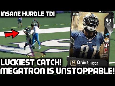 LUCKIEST CATCH! 99 CALVIN JOHNSON JR DESTROYING DEFENDERS! Madden 18 Ultimate Team