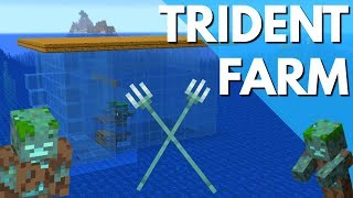 Minecraft How to Make a Trident Farm in Update Aquatic 1.13.1:  Drowned Farm Tutorial by Avomance