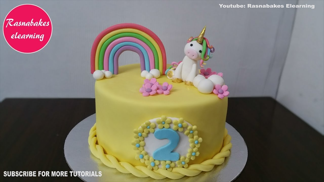 2 Year Old Or 2nd Birthday Cake With Unicorn Design Ideas Decorating Tutorial For Baby Girl Boy Youtube