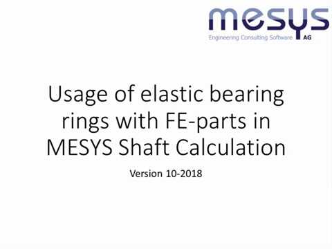Usage Of 3D-elastic Parts With Elastic Bearing Rings In MESYS Shaft Calculation
