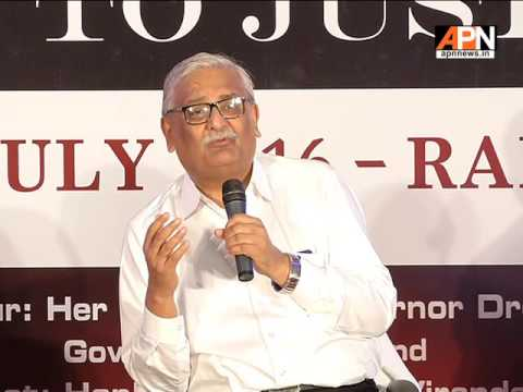 Justice AB Singh, judge, Jharkhand High Court, delivering his address