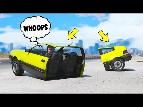 I split my car in HALF and STILL drove it!! (GTA 5 Mods)