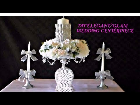 DIY ELEGANT/GLAM WEDDING CENTERPIECE