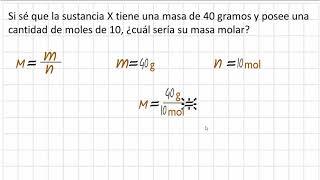 Como calcular la masa molar a partir de gramos y moles, ej 40 g y 10 mol