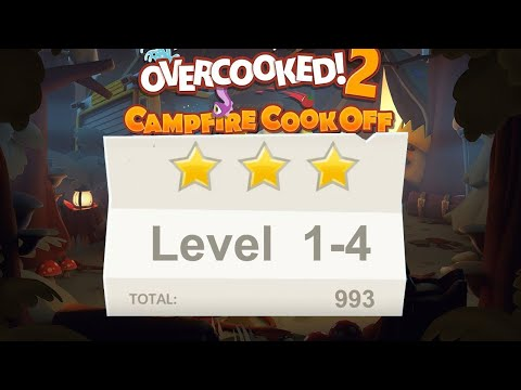 Overcooked 2. Campfire cook off. level 1-4. 2 players Co-op |