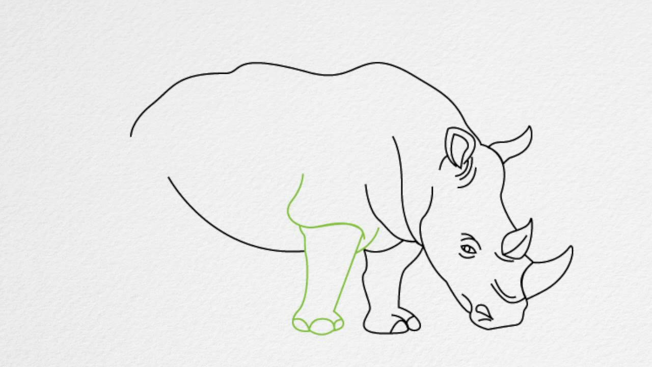 How to draw a rhino or rhinoceros step by step youtube ccuart Gallery