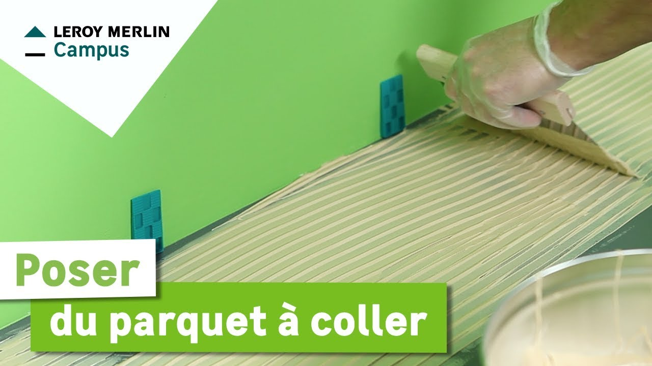 Comment poser du parquet coller leroy merlin youtube for Coller sur du carrelage