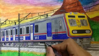 How to draw Mumbai AC local train sketch: step by step