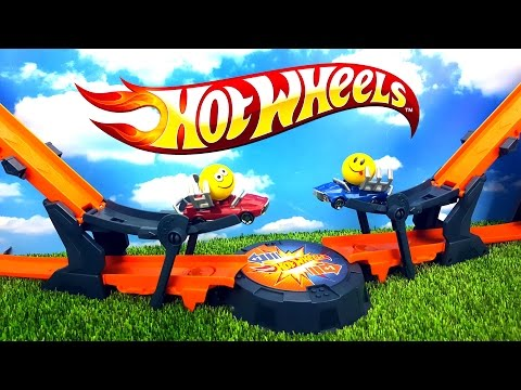Hot Wheels трек с машинками ПРОТИВОСТОЯНИЕ машинки классно сталкиваются и разлетаются в стороны